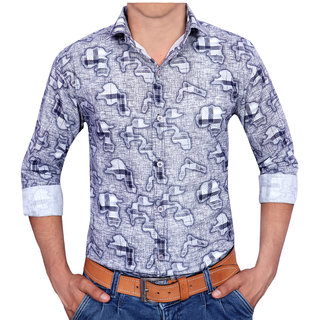 Acro Fly Dropped Check Gray Shirt For Men