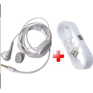 Pack of 2 3.5mm headphones +micro USB Cable for all Samsung galaxy mobile