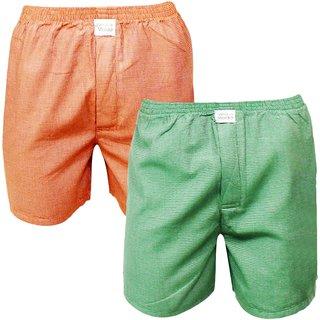 Neska Moda Men Premium Pack Of 2 Elasticated Cotton Green and Orange Boxers With 1 Back Pocket XB33andXB37