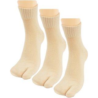 Neska Moda 3 Pair Women Skin Formal Plain Cotton Ankle Length Thumb Socks S27