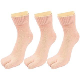 Neska Moda 3 Pair Women Brown Formal Plain Cotton Ankle Length Thumb Socks S29