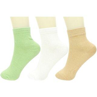 Neska Moda 3 Pair Women Solid Free Size Cotton Ankle Length Socks Pink Light Blue White S32
