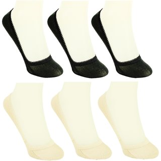 Neska Moda 6 Pair Women Solid Free Size Cotton No Show Belly Socks Beige Black