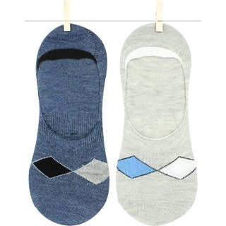 Neska Moda Premium 2 Pair Unisex Cotton No Show Loafer Socks Equipped With Silicon Gel For Grip blue Grey S514