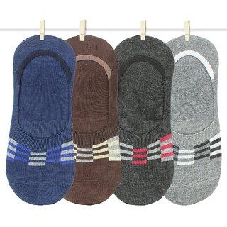 Neska Moda Premium Men and Women 4 Pairs Cotton Loafer Socks With Silicon Gel Grip Multicolor