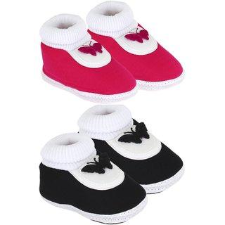 Neska Moda Unisex Infant Soft Black And Pink Booties Pack Of 2