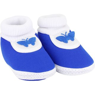 Neska Moda Baby Boys and Girls Butterfly Blue Booties (0 to 12 Months) (SK144)
