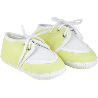 Neska Moda Baby Boys and Girls Lace Yellow Booties For 0 To 12 Months Infants SK146