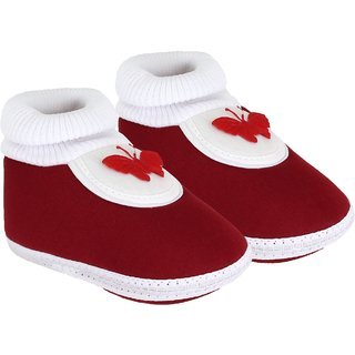 Neska Moda Baby Boys and Girls Butterfly Maroon Booties For 0 To 12 Months Infants BT85