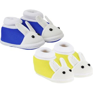 Neska Moda Pack Of 2 Baby Infant Soft Blue and Yellow Booties For Age Group 0 To 12 Months SK132andSK148