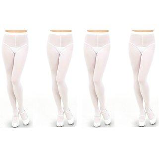 Neska Moda Women 4 Pair White Panty Hose Long Comfort Stockings