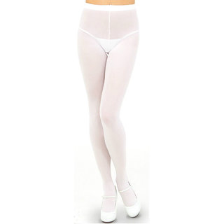 Neska Moda Women White Panty Hose Long Comfort Stockings STK5