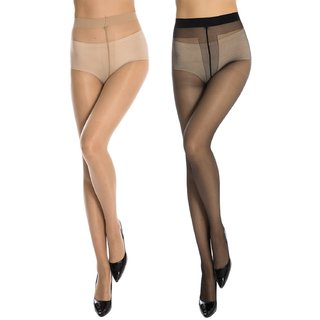 Neska Moda Women 2 Pair Black and Skin Panty Hose Long Comfort Stockings