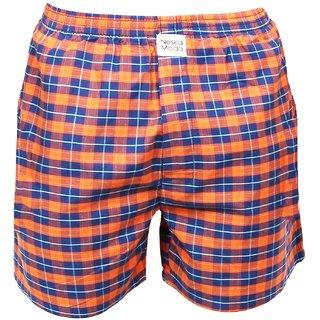 Neska Moda Men Premium Elasticated Cotton Orange And Blue Boxer With 1 Back Pocket XB73