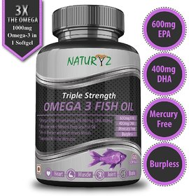 Naturyz Omega-3 Fish Oil 1400mg (EPA 600mg/DHA 400mg) Triple Strength- 60 softgels