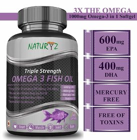 Naturyz Omega-3 Fish Oil 1400mg (EPA 600mg/DHA 400mg) Triple Strength- 60 softgels