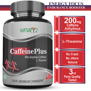 NATURYZ Caffeine 200 mg for Supports Energy, Focus, Vitality  Endurance - 60 tablets