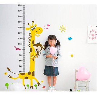 Giraffe Growth Chart Height Measure Wall Sticker - Multicolor