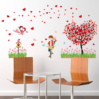 Love Tree Red Loving Heart Bicyle Lover Wall Sticker - Multicolor