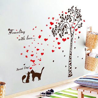 Love Tree Red Loving Heart Black Cats Removable Wall Sticker - Multicolor