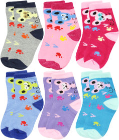 Neska Moda Cotton Ankle Length Multicolor Kids 6 Pair Socks For 7 To 13 Years SK300