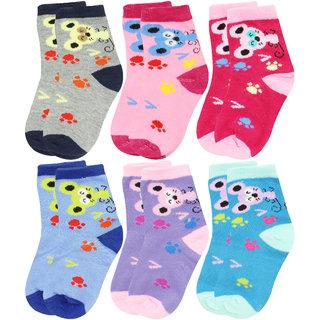 Neska Moda Cotton Ankle Length Multicolor Kids 6 Pair Socks For 7 To 13 Years SK300