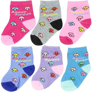 Neska Moda Cotton Ankle Length Multicolor Kids 6 Pair Socks For 2 To 4 Years SK361