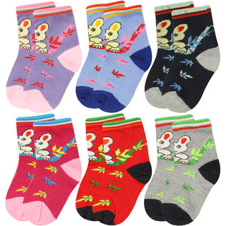 Neska Moda 6 Pairs Kids MultiColor Cotton Ankle Length Socks Age Group 7 to 13 Years SK228