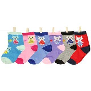 Neska Moda Cotton Ankle Length Multicolor Kids 6 Pair Socks For 1 To 3 Years SK418