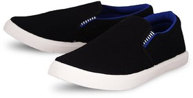 Weldone Black Slip on Canvas Air Mix Sneakers/Casual Shoes For Men