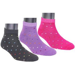 Neska Moda 3 Pair Women Cotton Solid Ankle Length Socks pink Black Blue S421