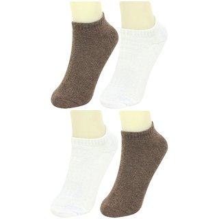 Neska Moda Premium Men and Women 4 Pairs Terry Cotton Loafer Socks With Silicon Gel Grip Brown White