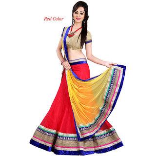 Mira Creation Women'sNet  Valvet FabricRedSemi Stitched Lehenga Choli(Size  Free)