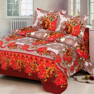 Z Decor Red Polycotton Floral Print Double Bedsheet (228 cm x 228 cm) With 2 Pillow Covers