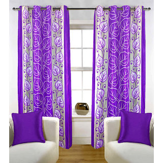 Sasha's Studio Set of 2 Designer Printed Door Curtains - Purple