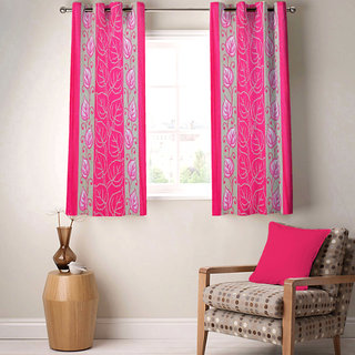 Sasha's Studio Set of 2 Designer Printed Window Curtains - Pink