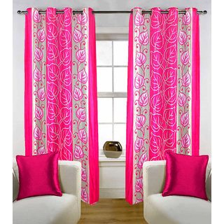 Sasha's Studio Set of 2 Designer Printed Door Curtains - Pink