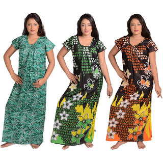 Chakraborty Women's Cotton Printed nighty pack of 3