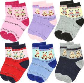 Neska Moda 6 Pairs Cotton Kids Multicolor Socks Age Group 7 To 13 Years SK110