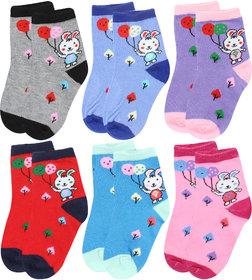 Neska Moda 6 Pairs Cotton Kids Multicolor Socks Age Group 3 To 7 Years SK111