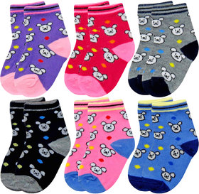 Neska Moda 6 Pair Multicolor Cotton Kids Teddy Ankle Socks Age Group 3 To 7 Years Sk1