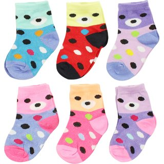 Neska Moda 6 Pairs Kids Multicolor Cotton Ankle Length Socks Age Group 7 To 13 Years SK227