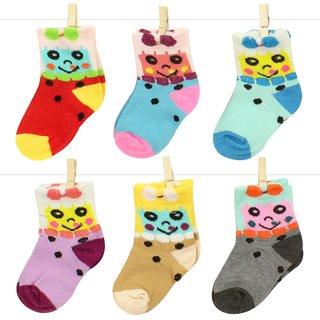 Neska Moda 6 Pair Multicolor Terry Cotton Kids Crew Length Cosy Soft Socks Age Group 0 To 2 Years