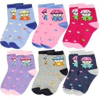 Neska Moda 6 Pairs Kids Multicolor Cotton Ankle Length Socks Age Group 7 To 13 Years SK234