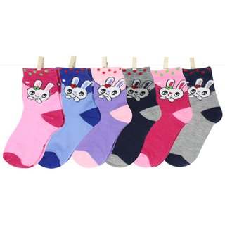 Neska Moda 6 Pairs Kids Multicolor Cotton Ankle Length Socks Age Group 7 To 13 Years SK264