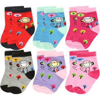Neska Moda Cotton Ankle Length Multicolor Kids 6 Pair Socks For 3 To 7 Years SK378