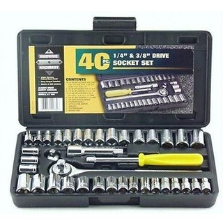 G-MTIN Universal Adjustable Wrench and T-Bar 40pcs Tool Kit for Home Machine Screw Driver Combo Socket Set (Pack of 40)