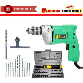 DIVS Combo Of 10 mm Drill Machine +13 Drill Bit Set + 41Pcs Tool kit Set