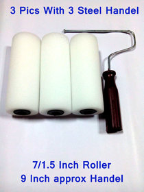 3 Unit Big Size Imported Paint Rollers In White  Colour With One Nut Type Plastic Handle