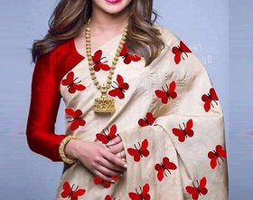 Bhuwal fashion Cream  Red Silk Printed Saree With Blouse